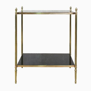 Vintage French Brass and Glass Side Table, 1960s