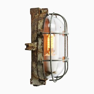 Applique vintage industriale in ghisa e vetro chiaro di Industria Rotterdam