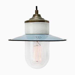 Lampe à Suspension Industrielle Vintage en Émail Bleu Clair, Laiton, Porcelaine et Verre Transparent