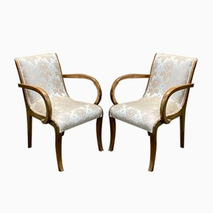 Art Deco Walnut Bridge Lounge Chairs, 1930s, Set of 2