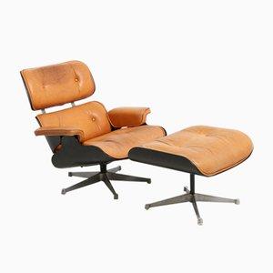 Conjunto de sillón y otomana de Charles & Ray Eames para Herman Miller, años 50. Juego de 2