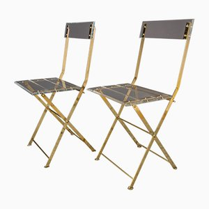 Vintage Plexiglass and Golden Brass Folding Garden Chairs from Maison et Jardin Paris, Set of 2