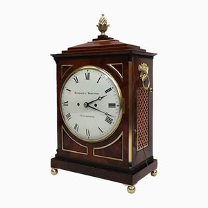 Antique George III English Mahogany Bracket Clock from Hampson & Thelwell, 1810s