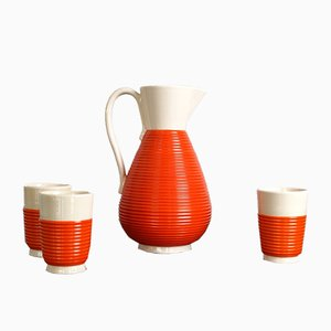 Vintage Italian Ceramic Water Pitcher and Glasses Set from Rometti, 1930s