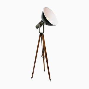 Vintage Industrial Black Enamel Wooden Spot Light Floor Lamp
