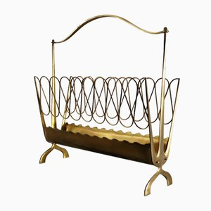 Vintage Italian Brass Magazine Rack in the Style of Gio Ponti, 1950s