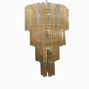 Large Murano Glass Tronchi Tube Chandelier by Paolo Venini, 1970s