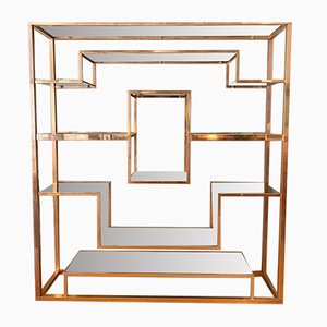 Vintage Italian Brass Shelf by Romeo Rega, 1970s