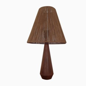 Mid-Century Danish Teak and Sisal Table Lamp, 1950s