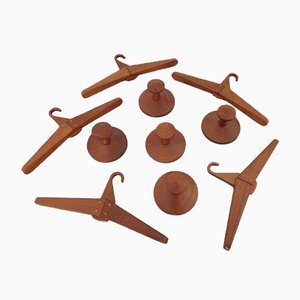 Teak Wall Racks and Hangers Set by Aksel Kjersgaard for Odder Møbler, 1960s, Set of 10