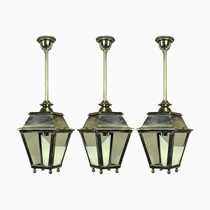 Silver Hall Lantern Ceiling Lamps, 1930s, Set of 3
