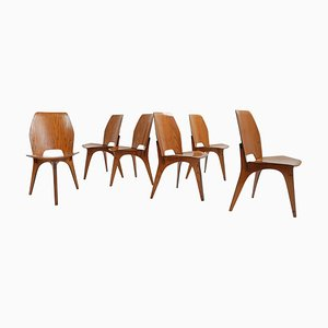 Italian Teak Plywood Chairs by Eugenio Gerli for Tecno, 1950s, Set of 6