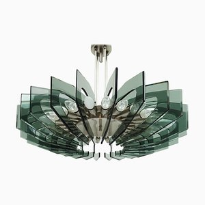 Italian Colored Glass Chandelier in the Style Fontana Arte, 1950s