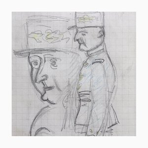Mon Colonel Pencil Drawing by Auguste Chabaud, 1930s