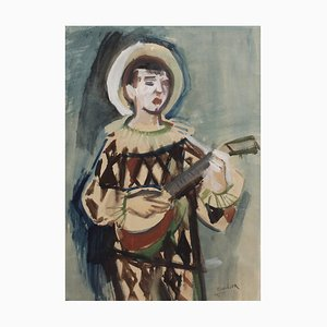 The Harlequin Watercolor by Rudolf Kundera, 1940s