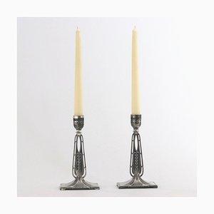 Versilberte antike sezessionisierte Kerzenständer von WMF, 1890er, 2er Set