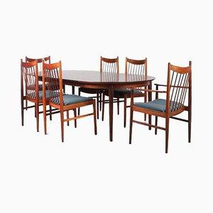 Juego de mesa de comedor y sillas Mid-Century de Arne Vodder para Sibast, años 60. Juego de 7
