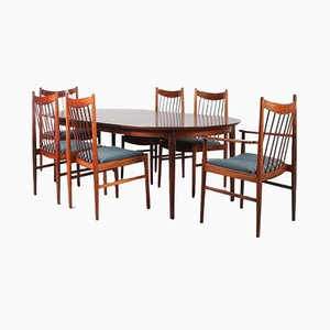Mid-Century Dining Table & Chairs Set by Arne Vodder for Sibast, 1960s, Set of 7