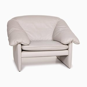 Gray Leather Mellow Mink Armchair from Leolux