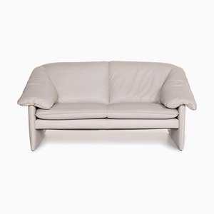 Gray Leather 2-Seater Mellow Mink Armchair from Leolux