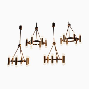 German Brass Church Chandeliers, 1960s, Set of 4