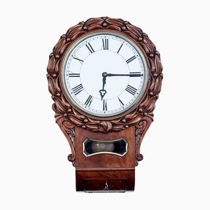 19th Century Victorian Carved Mahogany Wall Clock