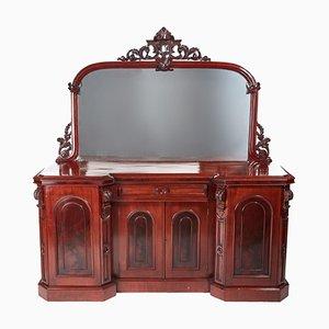Antikes geschnitztes viktorianisches Mahagoni Spiegelglas Sideboard