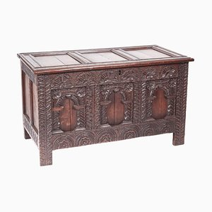 18th Century Antique Carved Oak Panelled Coffer