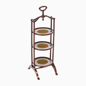 Antique Inlaid Mahogany 3-Tier Cake Stand, 1900s
