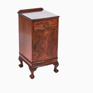 Burl Walnut Bow Fronted Nightstand, 1920s