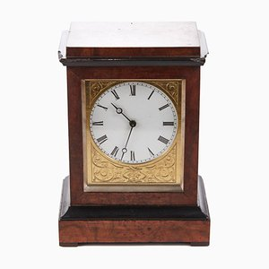 Antique Burr Walnut Ebonized Cased Desk Clock from Baldwin of Loughborough