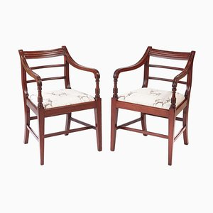 Antique George III Mahogany Elbow Desk Chairs, Set of 2