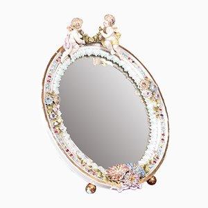 Grand Miroir de Chevalet Antique en Porcelaine
