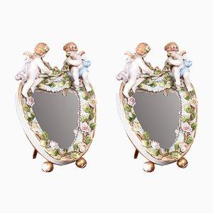 Antique Heart-Shaped Porcelain Mirrors, Set of 2