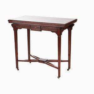 Antiker edwardianischer Kartentisch aus Palisander mit Intarsien