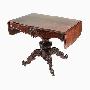 Antique Victorian Carved Rosewood Drop Leaf Table