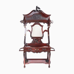 Antique Victorian Carved Mahogany Hall Stand