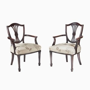 Antique Mahogany Hepplewhite Style Elbow Chairs, Set of 2