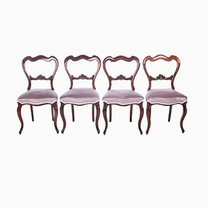 Antique Victorian Rosewood Dining Chairs, Set of 4