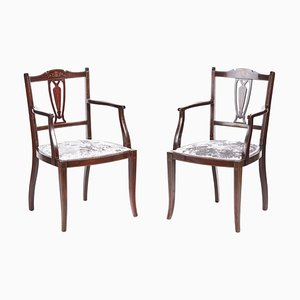 Antique Mahogany Inlaid Armchairs, Set of 2