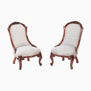 Victorian Carved Walnut Ladies Chairs, Set of 2