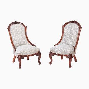 Viktorianische Damenstühle aus geschnitztem Nussholz, 2er Set