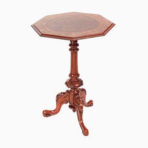 Tavolo da vino antico vittoriano in radica di noce intarsiato