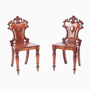 Antique William IV Mahogany Hall Chairs, Set of 2