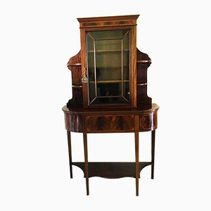 Antique Mahogany and Satinwood Inlaid Display Cabinet