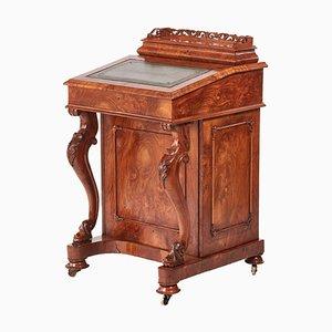 Antique Victorian Burr Walnut Freestanding Davenport