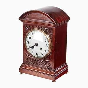 Antique Edwardian Carved Mahogany Mantel Clock