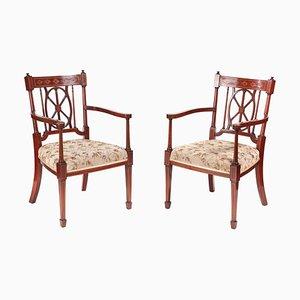 Antike Schreibtischstühle aus Mahagoni mit Intarsien, 2er Set