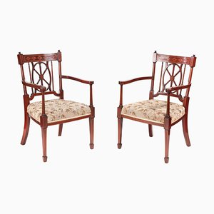 Antique Mahogany Inlaid Desk Chairs, Set of 2