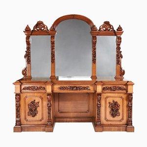 Espejo victoriano grande de roble tallado con espaldar posterior